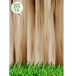 Grass over wood fence background vector