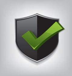 Empty black shield check mark vector