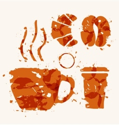 Coffee elements of watercolor stains vector
