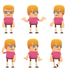 Set of dude character in different poses vector