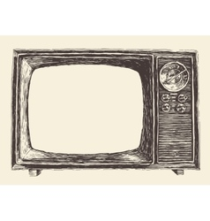 Retro television empty screen hand drawn vector