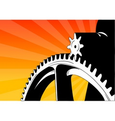 Cogwheel on the orange background vector