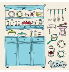 Kitchen set in  design elements of kitchen vector