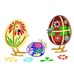 Happy easter eggs family vector