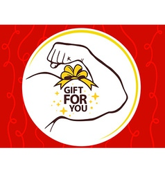 Strong man hand with icon of gift for yo vector
