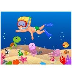 Little boy diving in the ocean vector