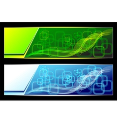 Two abstract banners backgrounds in green blue col vector