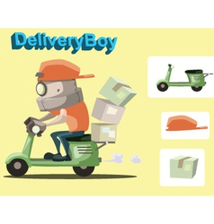 Robot delivery boy vector