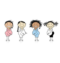 Happy pregnant women waiting for babies vector