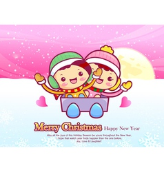 Boys and girls sleigh ride christmas card design vector