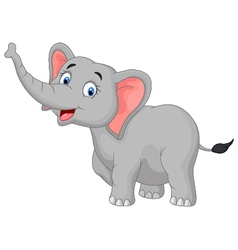 Cute cartoon elephant posing vector