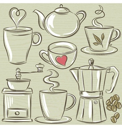 Set cup of hot drink vector