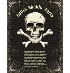 Skull frame poster template vector