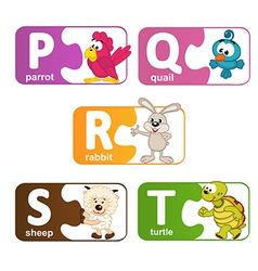 Stickers alphabet animals from p to t vector