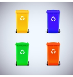 Colored waste bins with the lid closed vector