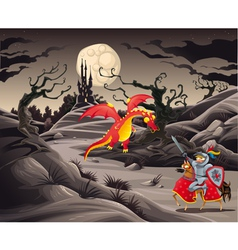 Knight and dragon in a landscape with castle vector