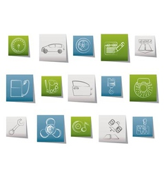 Car parts and characteristics icons vector