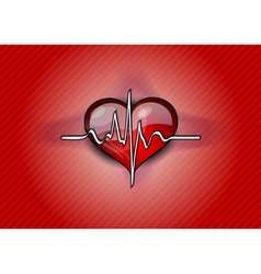 Red heart with pulse rhythm vector