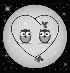 Owl heart moon vector