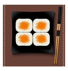 Black square plate with sushi and chopsticks vector