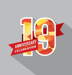 19th years anniversary celebration design vector