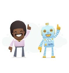 Robot dancing disco with a man vector