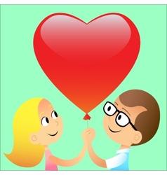 Boy girl ball red heart vector