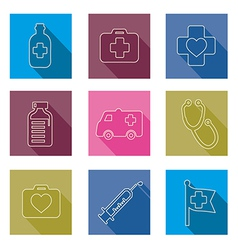Set of medical icons line vector