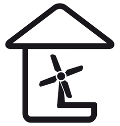 Fan in home silhouette vector