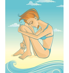Woman on beach vector