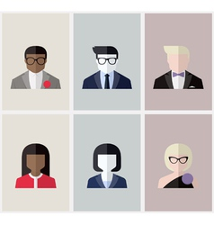 Modern flat avatars male and female user icons vector