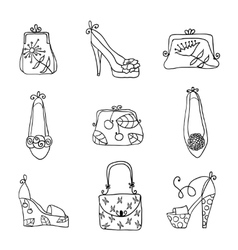Fashion collection ladies bags and shoes vector