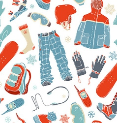 Seamless pattern of snowboard gear vector