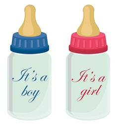 Baby bottles with text vector