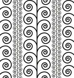 Curly floral seamless pattern black and white vector