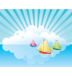 Yachts on the water vector