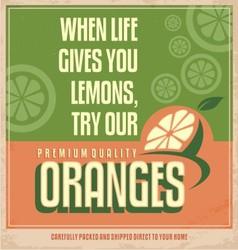 Retro orange poster design vector