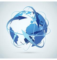 Global business idea - earth arrows paths vector
