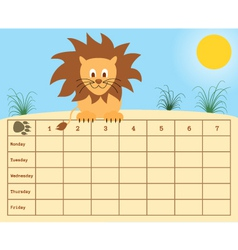 School timetable vector