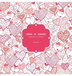 Romantic doodle hearts frame seamless pattern vector