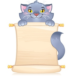 Cat with scroll vector