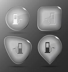 Fueling station glass buttons vector