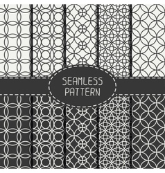 Set of monochrome seamless pattern with circle vector