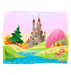 Mythological landscape with medieval castle vector