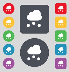 Snowing icon sign a set of 12 colored buttons flat vector