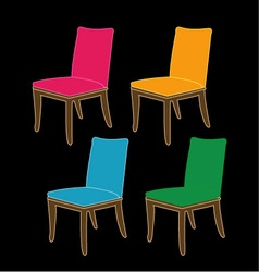 Colorful dining chairs on a black background vector