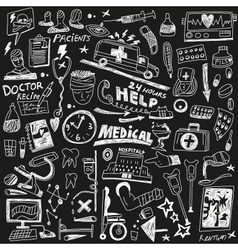 Medicine - doodles set vector