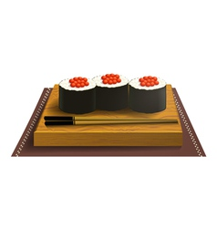 Wooden tray with sushi and chopsticks vector