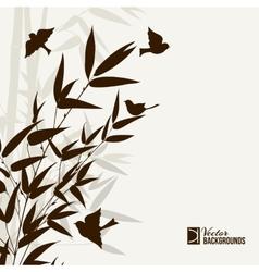 Bamboo bush with birds vector
