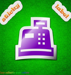 Cash register icon sign symbol chic colored sticky vector